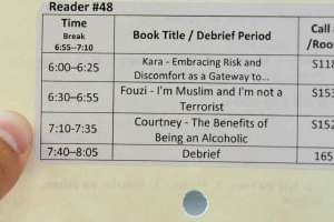 Library card with book titles typed out