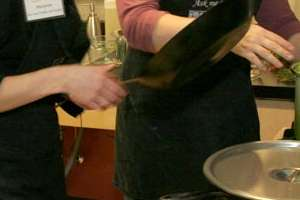 Marianne Rees and Carole Freeman cook in the Bastyr nutrition kitchen