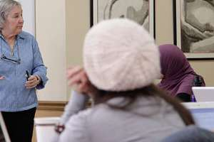 Penny Simkin speaks at a midwifery course at Bastyr University.