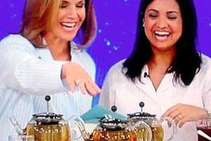 Couric and Dr. LoGiudice on TV with herbal teas