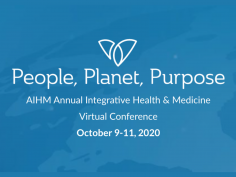 """Blue background with text overlay """"People, Planet, Purpose. AIHM Annual Integrative Health and Medicine Virtual Conference"""""""