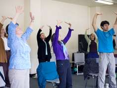 Students practice medical qigong