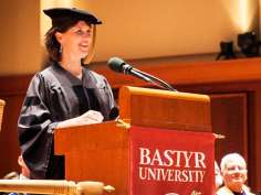 Tracy W. Gaudet, MD speaking at Bastyr graduation ceremony