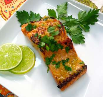 Grilled salmon on plate