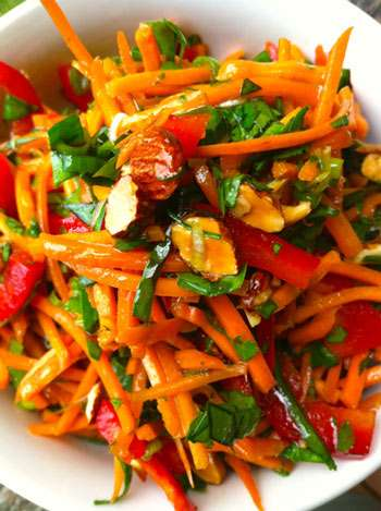 Thai carrot salad in bowl