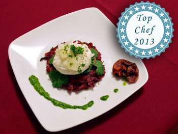 Top chef 2013 plate of Sumac and Cumin-Scented Chioggia Beet Latkes with Poached Egg and Fresh Herb Pis