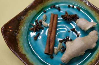 Cinnamon sticks, ginger, anise, whole peppercorns and cloves on prep plate