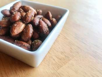 Bowl of spiced almonds