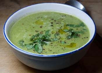 Asparagus Spinach Soup with Parmesan