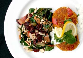 Plate of Rainbow Chard with Cranberries and Almonds
