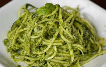 Raw Zucchini Noodles with Kale Pesto