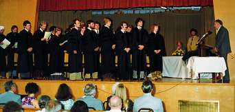 A historic photo of the first Bastyr graduation.